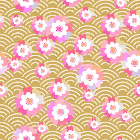 Sakura flowers seamless pattern Nature background with blossom pink flowers. brown Japanese wave circle pattern pastel colors on mustard yellow background. Vector illustration