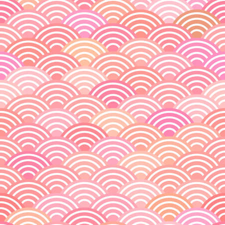 seamless pattern dragon fish scales simple seamless pattern Nature background with japanese wave circle pattern pastel colors on light orange pink background. Vector illustration