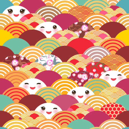 Seamless pattern Kawaii with pink cheeks and winking eyes simple Nature background with japanese sakura flower, rosy pink Cherry, wave circle pattern blue orange red burgundy colors. Vector illustration