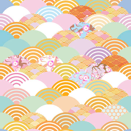 Seamless pattern fish scales simple seamless pattern Nature background with japanese sakura flower, rosy pink Cherry, wave circle pattern blue orange red green pastel colors. Vector illustration