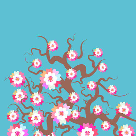 Sakura Nature background with blossom branch of pink flowers. Cherry tree brown branches japanese card banner design pastel colors on blue background. Vector illustration Illusztráció