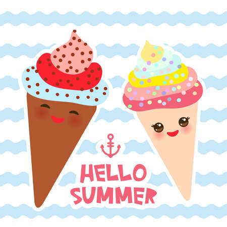 Hello Summer Ice cream waffle cone Kawaii funny muzzle with pink cheeks and winking eyes, pastel colors card design, banner template on blue waves sea ocean background. Vector illustration Illustration