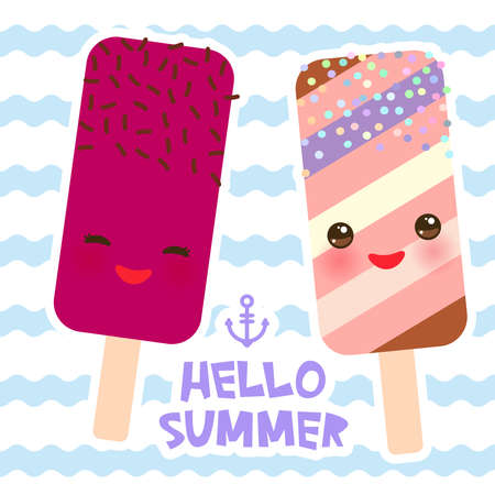 Hello Summer ice cream, ice lolly, Kawaii with pink cheeks and winking eyes, pastel colors card design, banner template on blue waves sea ocean background. Vector illustration