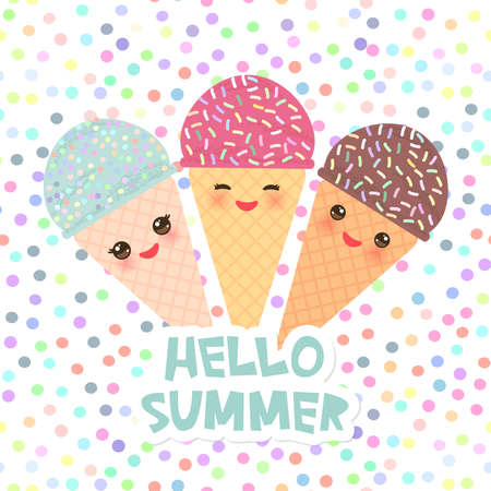 Hello Summer Ice cream waffle cone Kawaii funny muzzle with pink cheeks and winking eyes, pastel colors on white polka dot background. Vector illustration
