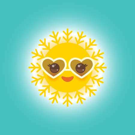 Kawaii funny yellow sun with sunglasses pink cheeks and eyes on blue sky background. Hot summer day. Bright sun and blue sky without clouds. Vector illustration