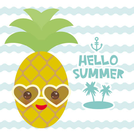 Hello Summer cute funny kawaii exotic fruit pineapple with sunglasses isolated on white. Hot summer day, pastel colors card design, banner template on blue waves sea ocean background. Vector illustration