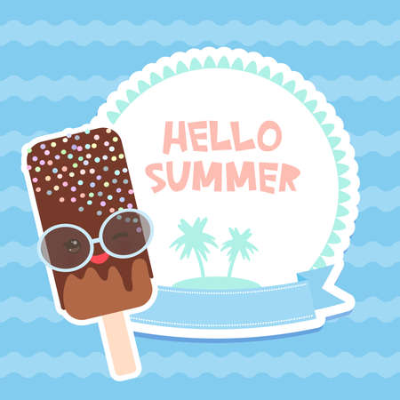 Hello Summer chocolate ice cream, ice lolly, Kawaii with pink cheeks and winking eyes, pastel colors card design, banner template palm island on blue waves sea ocean background. Vector illustration
