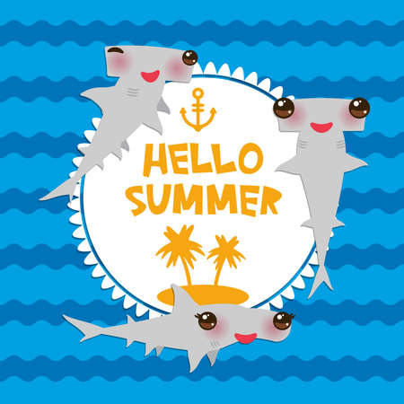 Hello Summer Cartoon gray Smooth hammerhead Winghead shark Kawaii with pink cheeks and winking eyes smiling. Round card design, banner template on blue waves sea ocean background. Vector illustration Illustration