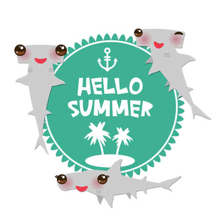 Hello Summer Cartoon gray Smooth hammerhead Winghead shark Kawaii with pink cheeks and winking eyes smiling. Round card design, banner template on blue white background. Vector illustration