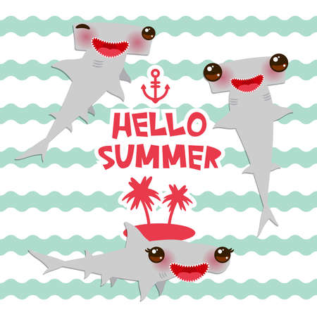 Hello summer Cartoon gray Smooth hammerhead Winghead shark Kawaii with pink cheeks and winking eyes smiling. blue waves sea ocean background. banner template, card design. Vector illustration Illustration