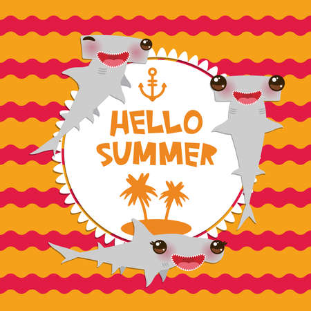 Hello Summer Cartoon gray Smooth hammerhead Winghead shark Kawaii with pink cheeks and winking eyes smiling. Round card design, banner template on orange red waves sea ocean background. Vector illustration