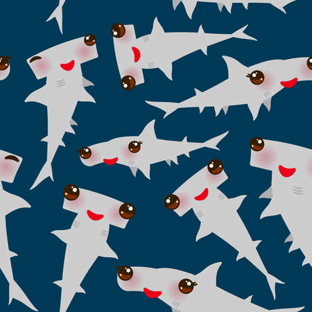 Seamless pattern Cartoon gray Smooth hammerhead Winghead shark Kawaii with pink cheeks and winking eyes positive smiling on dark blue background. Vector illustration