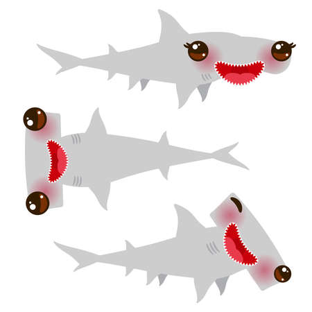 Cartoon gray Smooth hammerhead Winghead shark set. Kawaii with pink cheeks and winking eyes positive smiling on white background. Vector illustration