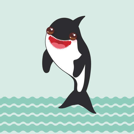 Cartoon grampus orca, killer whale, sea wolf Kawaii with pink cheeks and positive smiling on blue waves sea ocean background. Vector illustration