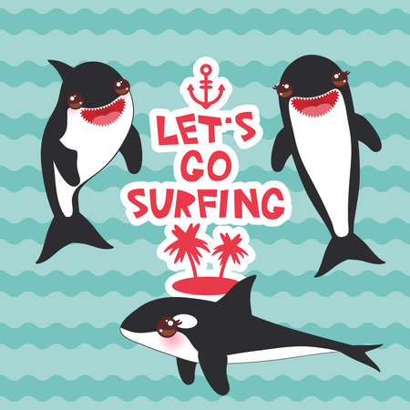 Cartoon grampus set. Lets go surfing, orca, killer whale, sea wolf Kawaii with pink cheeks and positive smiling on blue waves sea ocean background. banner template, card design. Vector illustration