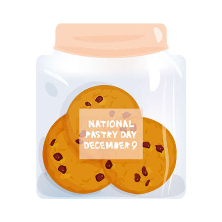 Chocolate chip cookie set, National pastry day December 9, Freshly baked biscuit in jar isolated on white background. Bright colors. Vector illustration