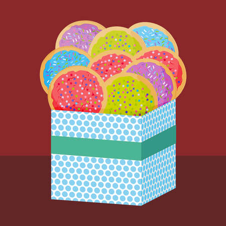 Frosted sugar cookies, Set Italian Freshly baked sugar cookies with pink green violet blue frosting and colorful sprinkles. Present Gift box with biscuits. Bright colors on brown background. Vector illustration Illustration