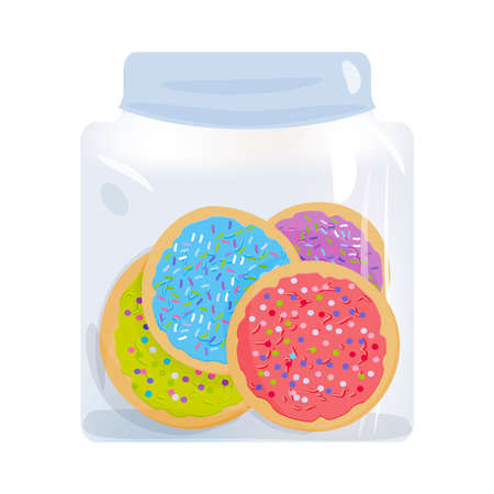 Frosted sugar cookies homemade Italian Freshly baked in glass jar with pink violet blue green frosting and colorful sprinkles isolated on white background. Vector illustration