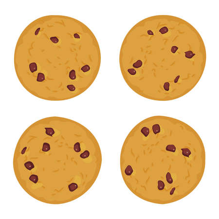 Chocolate chip cookie set, Freshly baked Four cookies isolated on white background. Bright colors. Vector illustration