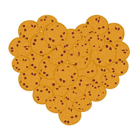 Heart Chocolate chip cookie set, Freshly baked Four cookies on white background. Bright colors. Vector illustration Illustration