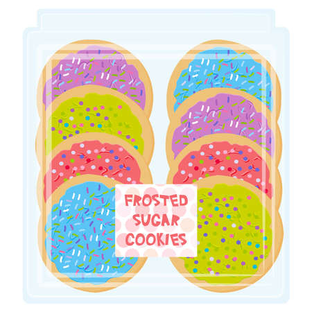 Hand made Frosted sugar Italian Freshly baked cookie with pink violet blue green frosting and sprinkles, Freshly baked in transparent plastic box package on white background. Bright colors. Vector illustration