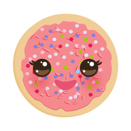 Kawaii Frosted sugar cookies, Italian Freshly baked biscuit with pink frosting and colorful sprinkles. Bright colors on white background. Vector illustration