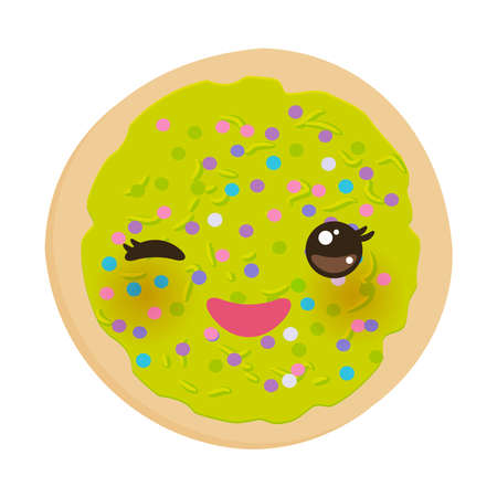 Kawaii Frosted sugar cookies, Italian Freshly baked biscuit with green frosting and colorful sprinkles. Bright colors on white background. Vector illustration