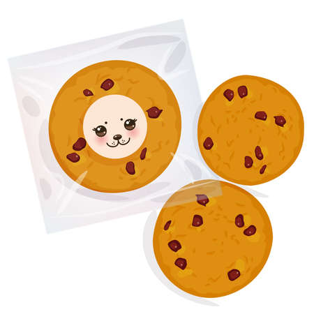 Hand made Chocolate chip cookie, Freshly baked Four cookies in transparent plastic package isolated on white background. Bright colors. Vector illustration