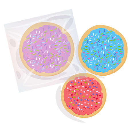 Frosted sugar cookies, Set Italian Freshly baked cookies in transparent plastic package with pink violet blue frosting and colorful sprinkles. Bright colors on white background. Vector illustration