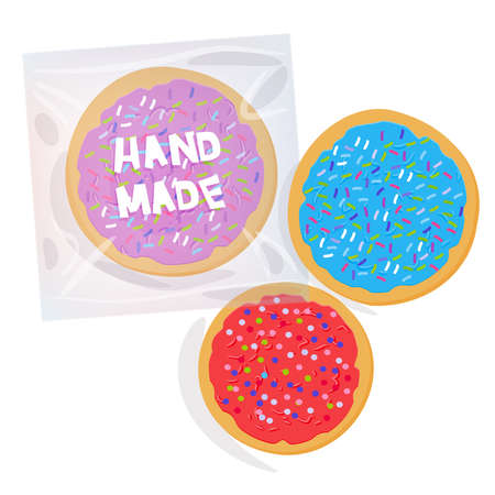 Hand made Frosted sugar cookies, Set Italian Freshly baked cookies  in transparent plastic package with pink violet blue frosting and colorful sprinkles. Bright colors on white background. Vector illustration