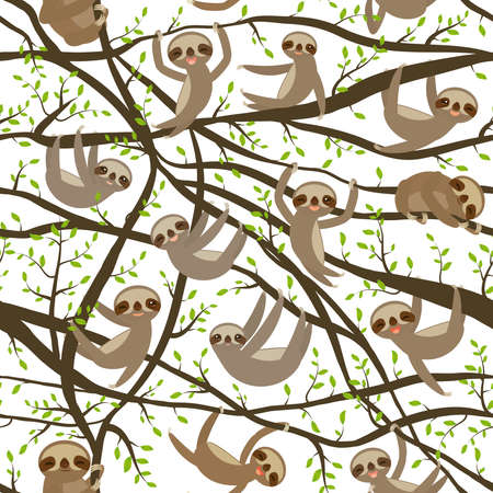 seamless pattern funny and cute smiling Three-toed sloth on green branch tree creeper, isolated white trendy background. Vector illustration Illustration