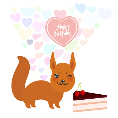 Happy birthday Card design cute squirrel with Sweet cake decorated with fresh cherry, pink cream and chocolate icing, pastel colors on white background. Vector illustration Illustration