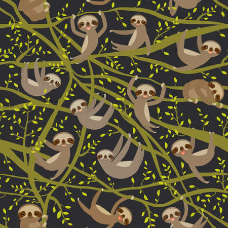 seamless pattern funny and cute smiling Three-toed sloth on green branch tree creeper, darck green trendy background. Vector illustration Stock Illustratie