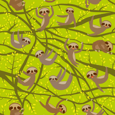 Seamless pattern of funny and cute smiling Three-toed sloths  イラスト・ベクター素材