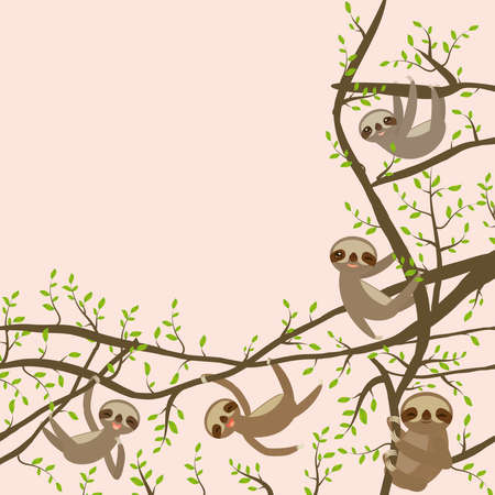 Card banner template with funny and cute smiling Three-toed sloth set on green branch tree vector illustration