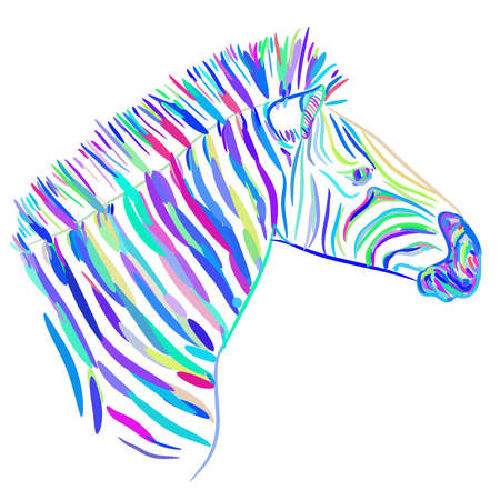 Rainbow blue Zebra portrait vector illustration Ilustrace