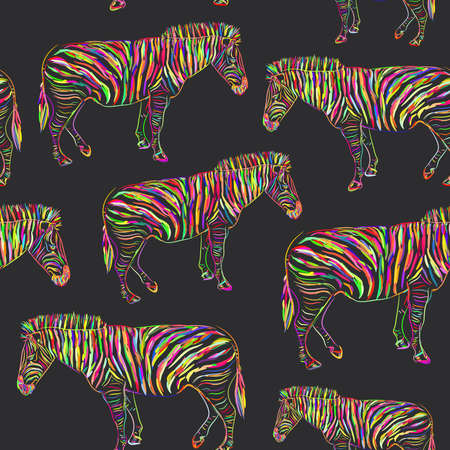 Rainbow Zebra portrait seamless pattern