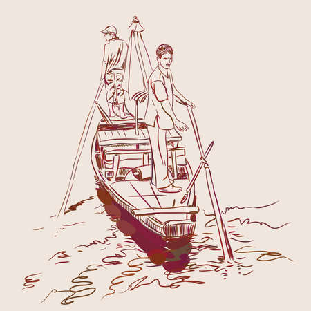 Sketch of two men standing on the edge of a boat in the river vector illustration