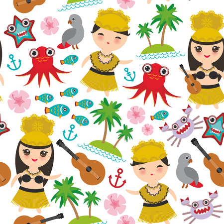 Hawaiian Hula Dancer boy girl seamless pattern, set of Hawaii symbols with a guitar ukulele flowers parrot fish crab octopus anchor flower sea ocean palm trees on white background. Vector illustration Illustration