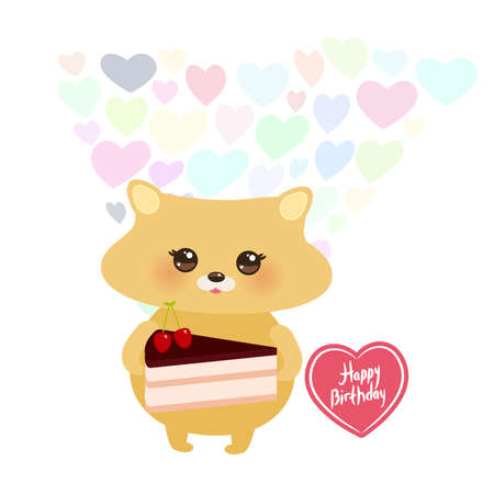 Happy birthday Card design cute hamster with Sweet cake decorated with fresh cherry, pink cream and chocolate icing, pastel colors on white background. Vector illustration
