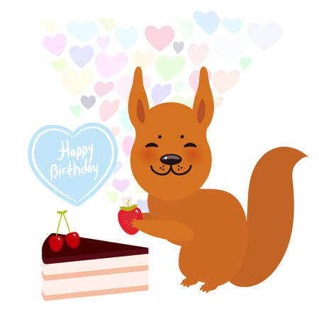 Birthday Card design with cute squirrel vector illustration Illustration