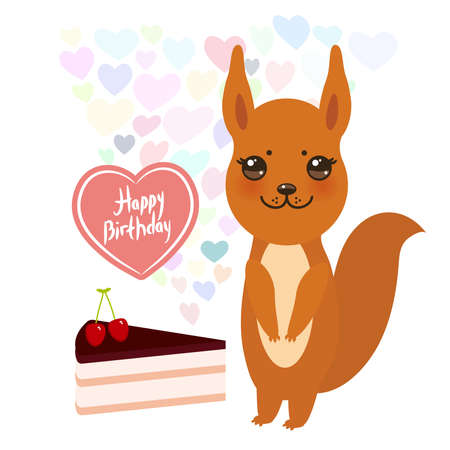 Happy Birthday Card Cute Squirrel With Cake Balloon In The Shape