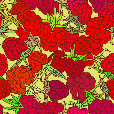 red raspberry with green leaves seamless pettern on isolated on yelow background for site, blog, fabric. Vector illustration