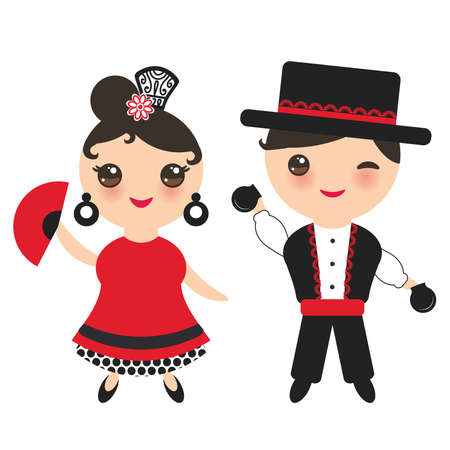 Spanish flamenco dancer. Kawaii cute face with pink cheeks and winking eyes. Gipsy girl and boy, red black white dress, polka dot fabric, Isolated on white background. Vector illustration