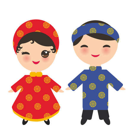 Vietnamese Kawaii boy and girl in national costume and hat. Cartoon children in traditional Vietnam dress isolated on white background. Vector illustration Vectores