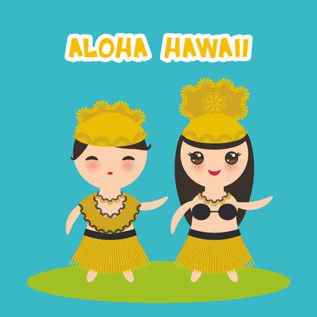 Aloha Hawaii Card design Hawaiian Hula Dancer Kawaii boy girl on bliue background. Vector illustration
