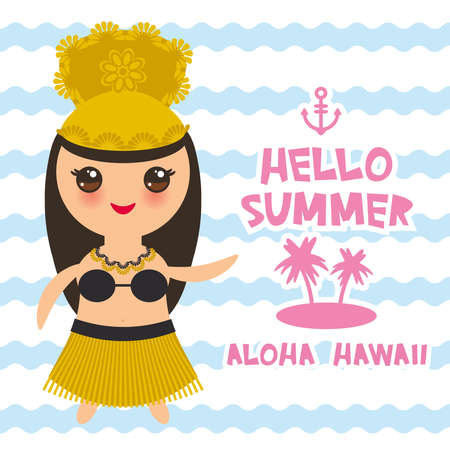 Aloha Hawaii Card design Hawaiian Hula Dancer Kawaii girl. Hello summer blue waves sea ocean palm tree background. banner template, card design. Vector illustration
