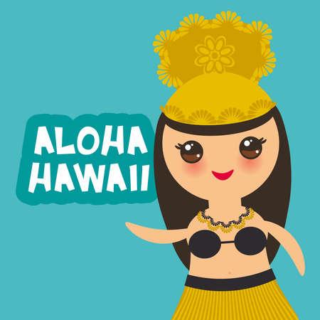 Aloha Hawaii Card design Hawaiian Hula Dancer Kawaii girl on green background. Vector illustration Illustration