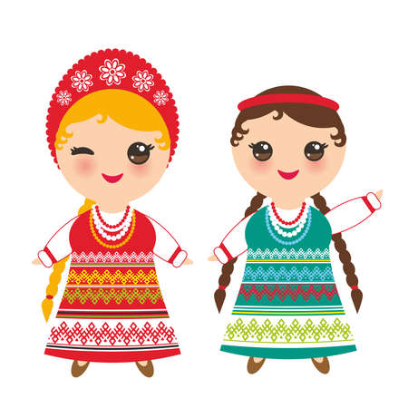 Slavic girl in green red sundress and white shirt with embroidery, hair braided two braids Kawaii child in national costume. Cartoon children in traditional dress isolated on white background. Vector illustration 일러스트