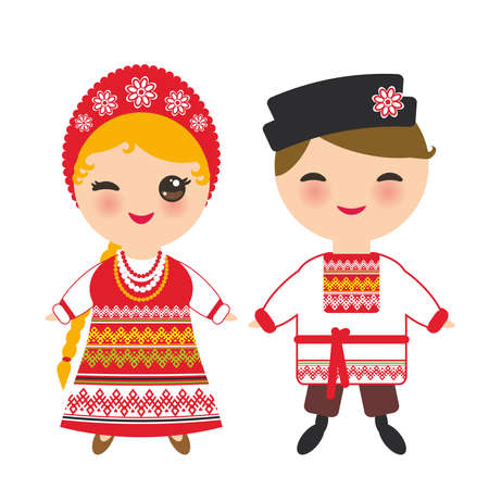 슬라브 소년과 소녀 빨간색 sundress와 자 수, 머리 꼰 머리 띠와 흰 셔츠 국가 의상에서 Kawaii 아이입니다. 흰색 배경에 고립 된 전통적인 드레스에서 만